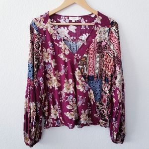 Umgee   Balloon Sleeve Faux Wrap Patch Floral Top